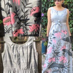 VTG MISS Ming 100% raw silk print dress